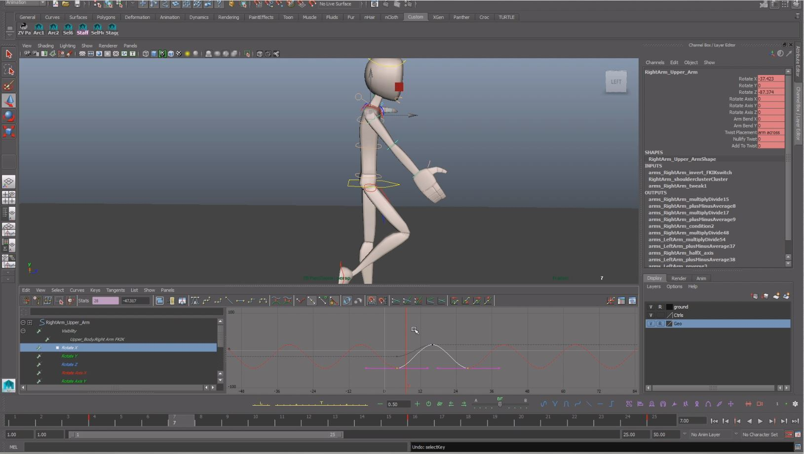 animation walk cycle arms