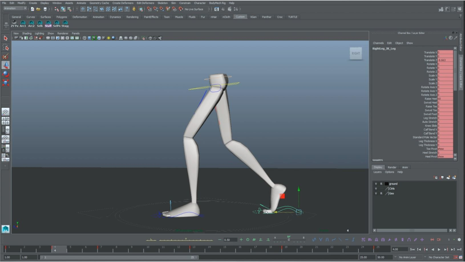 animation walk cycle down pose