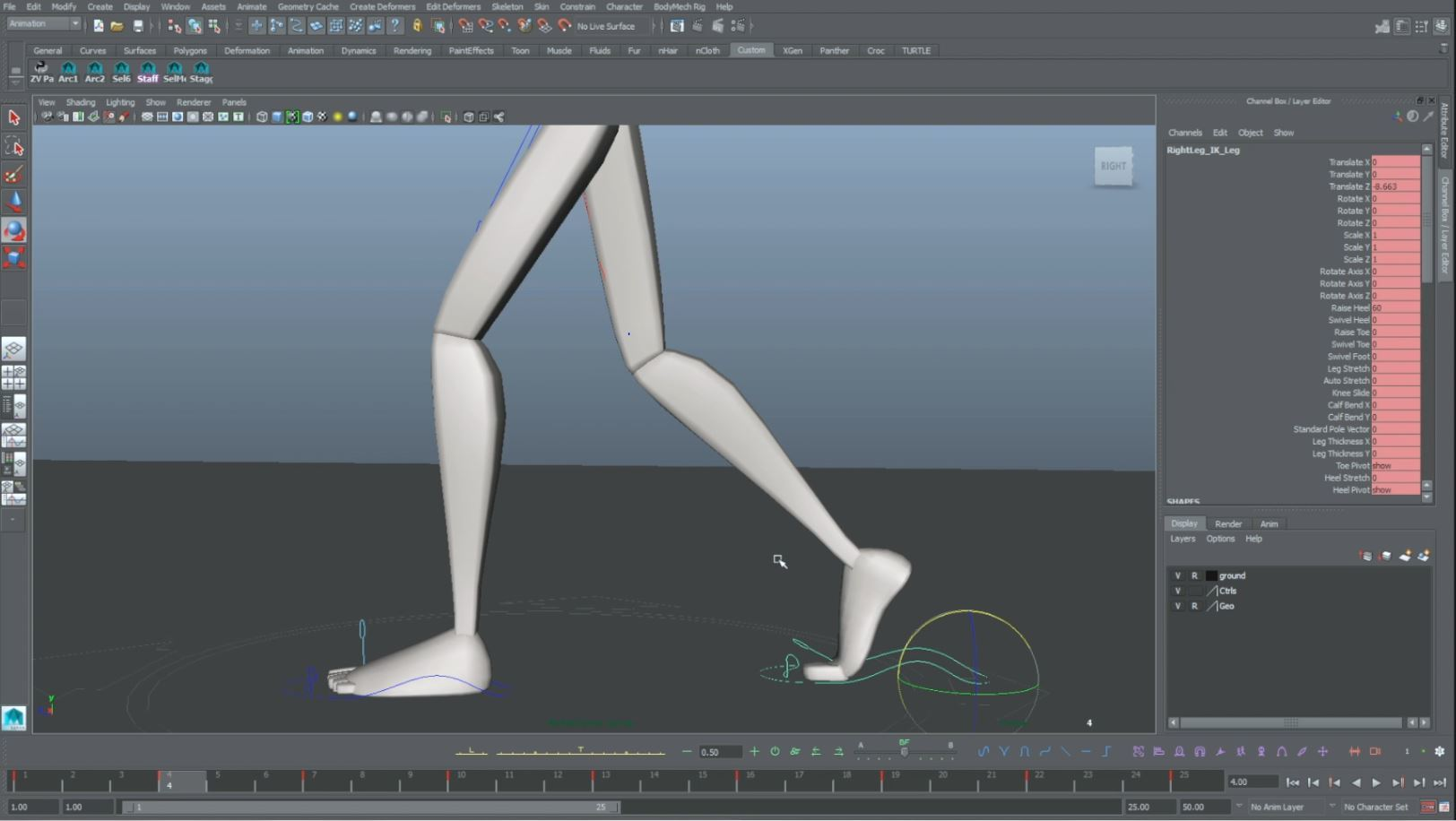 animation walk cycle foot side